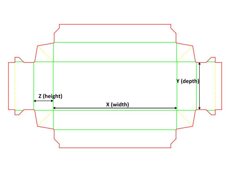 Opakowanie dwupunktowe - siatka z wymiarami