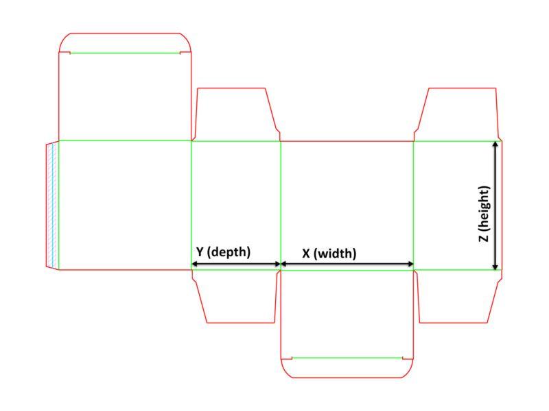 Opakowanie jednopunktowe - siatka z wymiarami