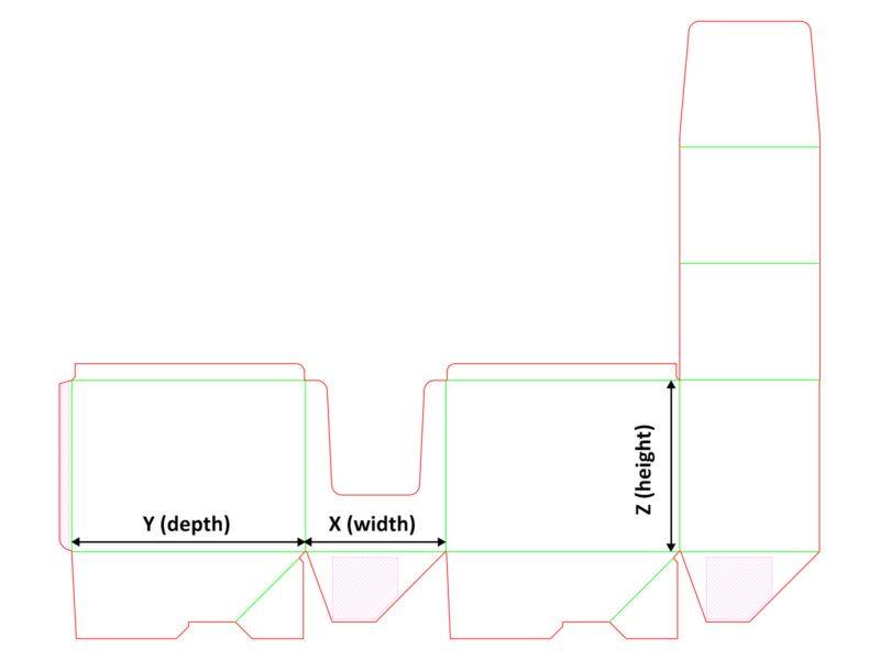 Opakowanie typu display - siatka z wymiarami