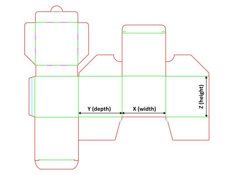 Opakowanie z wkładką - siatka z wymiarami