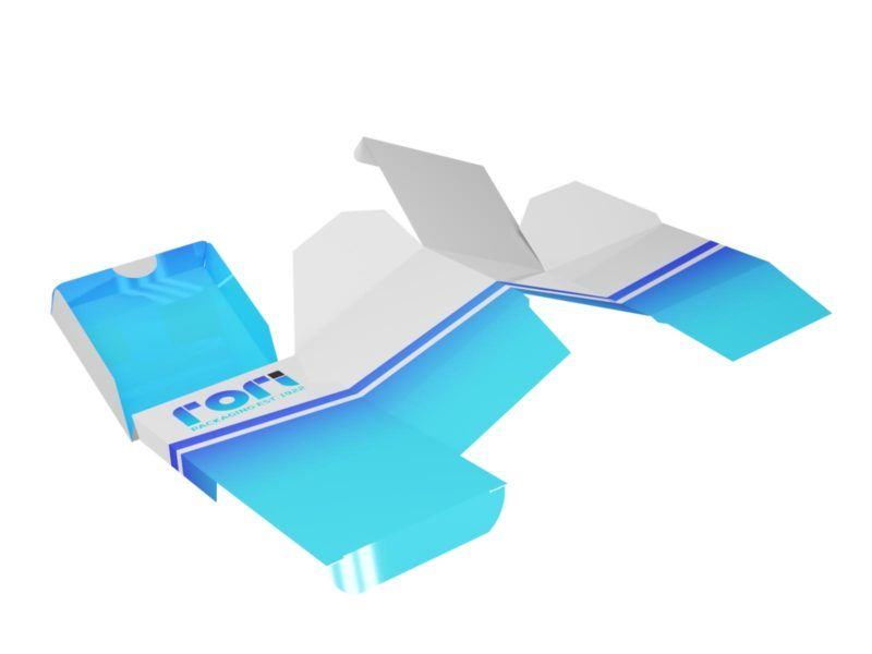 Opakowanie z wkładką - siatka z wymiarami po rozłożeniu z renderem